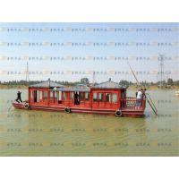 画舫船 旅游观光船 餐饮娱乐木船 复古景区参观玻璃钢包底电动船