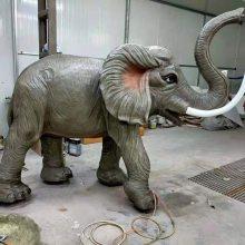 大象雕塑 镀金玻璃钢动物定制 广场喷水艺术品动物热销