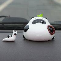 懒拖拖原创可爱熊猫汽车摆件车内用品创意车载家居办公摆设招代理