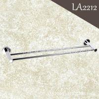 LA2212 全铜浴室挂件 双杆毛巾杆 亮铬卫浴挂件毛巾架 厂家直销