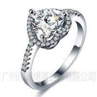 品牌银饰批发925银心形戒指原创手工饰品定制韩版女戒