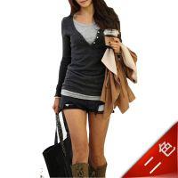 2014春装新款 韩版假两件套长袖T恤女装 圆领保暖修身打底衫撞色