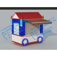 美式风格制造风景区流动售货亭小吃车设计销售实木售货车公园流动售货亭定做