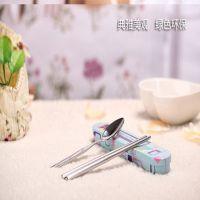 批发儿童压花便携式不锈钢叉勺筷子餐具套装 不锈钢餐具三件套装