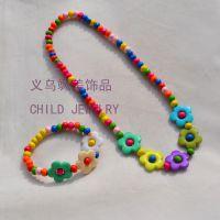 韩版儿童饰品套装 卡通梅花 彩色木珠项链手链 厂家直销可混批