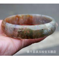 纯天然红绿水草玛瑙手镯完美 天丝玛瑙玉髓镯子批发
