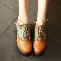 潮春秋韩版粗跟厚底英伦风女鞋子复古中跟系带单鞋防水台皮鞋代发