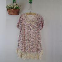 日本原单连衣裙 蕾丝花边娃娃领 小碎花雪纺裙外贸原单夏季连衣裙