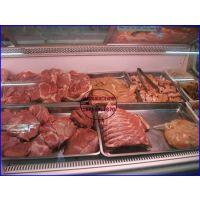 冷鲜肉展示柜济南定做厂家 2米风冷鲜肉柜价格 后开门弧形熟食柜