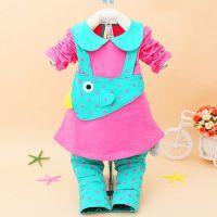8158福鹭神童2015新装春款小鸡弹力女童两件套装女宝宝衣服韩版
