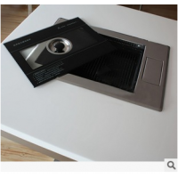 简约现代不锈钢电磁炉火锅桌 火锅烧烤一体桌