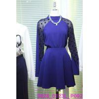 韩国女装代购 东大门进口批发 2015春款圆领束腰拼接长袖连衣裙