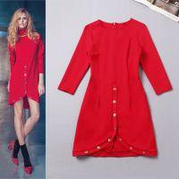 2014秋冬新款 欧美女装批发 走秀款前开叉红色罗马针织连衣裙A299