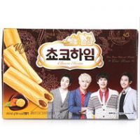 韩国食品批发 进口饼干 可拉奥巧克力榛子瓦蛋卷 12盒/箱