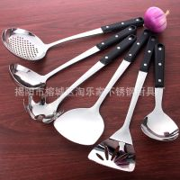厂家直销 3.0厘无磁黑珍珠款厨具套装 烹饪工具 锅铲 漏勺 新创意