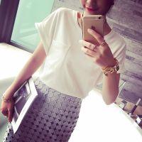 小银子2015夏装新款简约百搭洋气卷边口袋显瘦棉质短袖T恤T5447