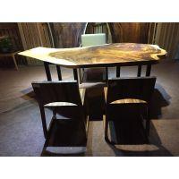 新中式胡桃木实木大板桌茶桌办公桌书桌原生态大板桌餐桌简约现代
