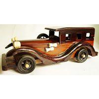 供应玩具,彩绘木制老爷车,益智仿古纯手工小木车10寸E