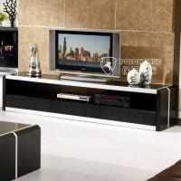 电视柜组合现代时尚简约实木皮橡木不锈钢化玻璃客厅视听地柜
