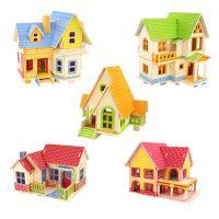 木质3D立体拼图 小屋小别墅拼装模型 若态科技建筑模型批发6岁以