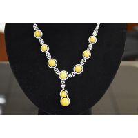 新品纯天然琥珀蜜蜡项链波罗的海蜜蜡镶嵌圆珠时尚女吊坠银