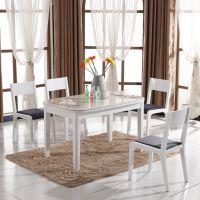 现代简约客厅家具小户型餐桌钢化玻璃饭桌大理石圆角餐台包邮V668