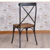 美式乡村复古餐椅 铁艺餐厅椅子 仿古椅子 实木餐椅 创意铁餐椅
