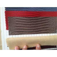 供应喷涂效果 鳄鱼纹 蜥蜴纹箱包革 水刺无纺布底 实价13.5元/米