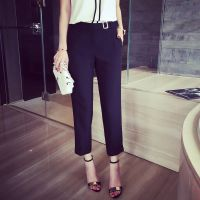 小银子2015夏装新款欧美洋气百搭显瘦九分裤西裤S