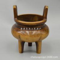 厂家直销 纯铜做旧冲天耳铜鼎香炉 铜香炉 仿大明宣德年制摆件
