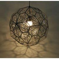 现代简约不锈钢多面球吊灯创意时尚蚀刻网球金属多边形钻石热销灯