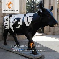 彩绘仿真牛模型玻璃钢雕塑 动物美陈摆件模型定制
