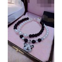 天然珍珠 925银微镶熊猫挂坠女款双层手链 招代理一件代发