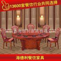 热卖 圆形双层实木餐桌椅 古典中式 中餐厅秦妈火锅桌子 厂家定做