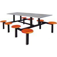 食堂连体餐桌椅|(特价促销)八人位玻璃钢餐桌椅 专业批发