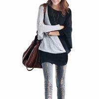 2014春秋装韩时尚新款 薄款拼色中长款长袖包臀蝙蝠T恤打底衫女装