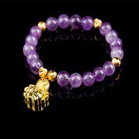 微商货源 爆款天然紫色水晶配欧币饰品手链AA级水晶手链手串 混批