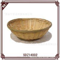 特价便宜圆形竹编面包篮 收纳篮 纯手工编织工艺品 厂家直销