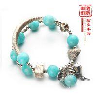 原创韩版天然5A级天河石手链 搭配手工银拉丝弯管配件 优雅时尚