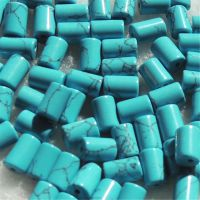 工厂直销土耳其石头人造 绿松石 线纹松圆柱DIY饰品4X6