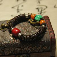 精品天然原创饰品椰壳隔片手链 男女藏式佛珠手串 藏银绿松石批发