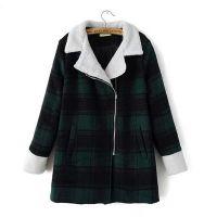 2014冬装新品爆款复古翻领羊羔毛斜拉链格子夹棉大衣外套女078C