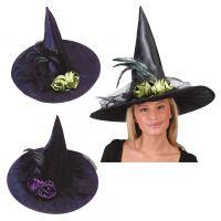热销带花女巫帽 狂欢 派对 鬼节 舞会万圣节表演用品