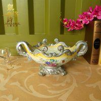 欧式高脚彩绘陶瓷果盘 陶瓷花瓶 树脂工艺礼品摆件 餐桌装饰花器