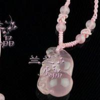 正品保平安/纯天然粉水晶吊坠/葫芦/粉晶/水晶/女款/吊坠/项链