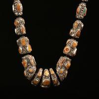 厂家热销尼泊尔手工饰品 925纯银项链镶嵌绿松石天然蜜蜡项链项环