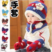 儿童手套 新款韩版雪花手套 加绒加厚挎脖手套 公主妈妈配套手套