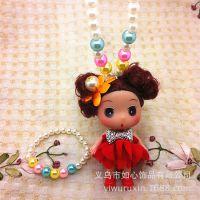 2元店饰品新款儿童饰品 宝宝项链两件套 立体女娃娃项链