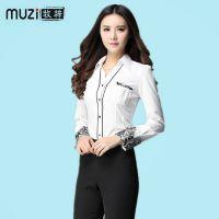 2015春季新款职业女装 时尚韩版大码修身蕾丝边女式衬衣 厂家批发