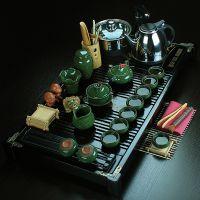 高档功夫茶具 冰裂玻璃紫砂壶 实木茶盘茶叶罐配件套装 批发供应